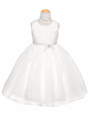 White Organza Dress w/ Beaded Bodice & Rhinestone Sash