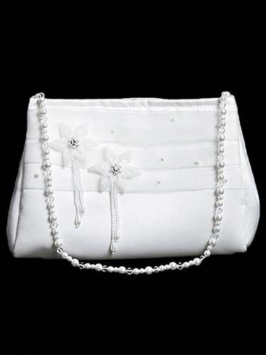 White Organza Trim w/ Rhinestones Communion Purse