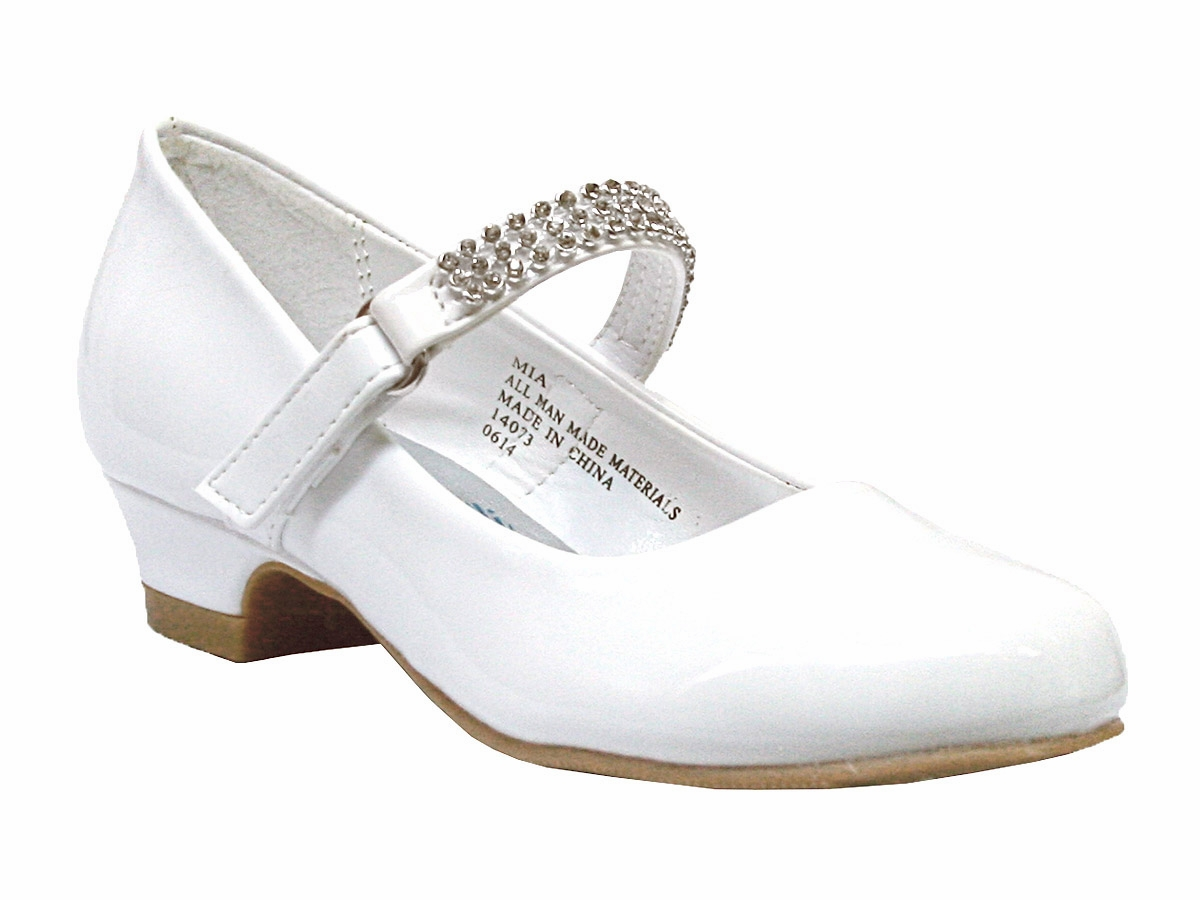 Low Heel Girls Dress Shoe w/ Rhinestone Strap