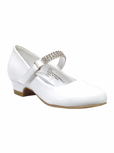 White Low Heel Girls Dress Shoe w/ Rhinestone Strap