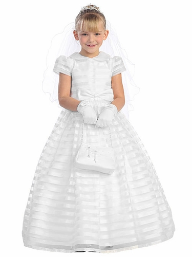 White Peter Pan Collar Striped Dress w/ Sash & Bow