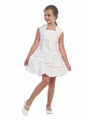 White Pick Up Style Taffeta Dress w/ Gathered Bodice & Bolero