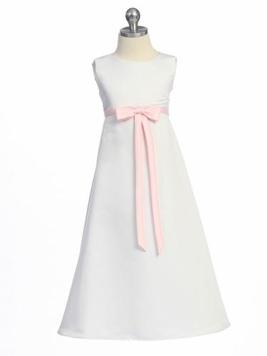 Pink Flower Girl Dress - Matte Satin A-Line Dress