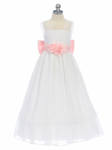 White/Pink Sweet Beginnings Chiffon Dress