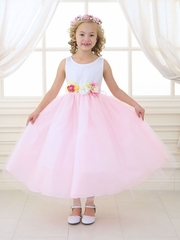 White & Pink Tulle Dress w/ Multi-Color Flower Waistband