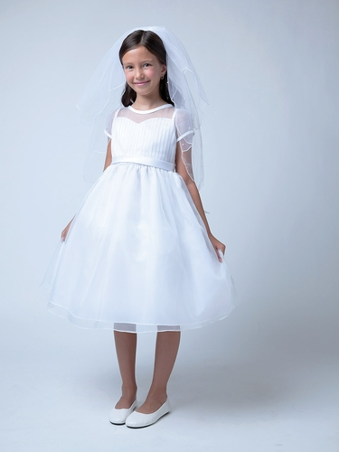 White Pleated Organza Top w/ Sweetheart Neckline Dress