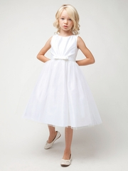 White Pleated Satin w/ Bow Tulle Dress