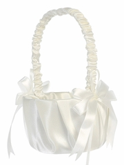 White Pleated Satin w/ Bows Basket