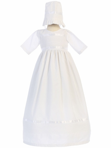 White Poly Cotton Unisex Pintuck Gown w/ Hat