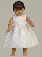 "White Poly Cotton Polka-Dot Burnout Dress for 18"" Doll"