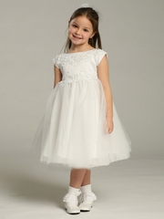 White Princess Tulle Dress w/ Cap Sleeves