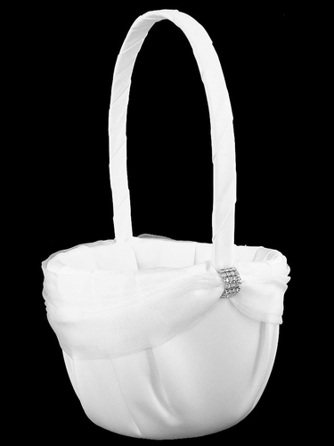 White Rhinestone Sash Flower Girl Basket