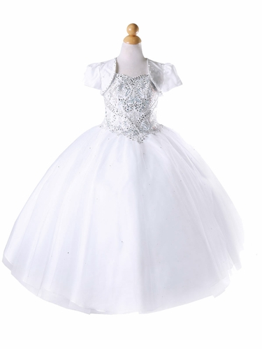 White Rhinestone Sweetheart Tulle Ball Gown