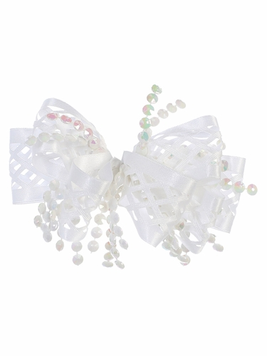 White Ribbon & Beads Hair Clip