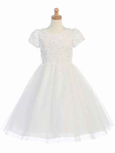 White Ribbon & Sequins Embroidered Bodice Tulle Dress