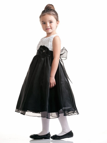 White Ribboned Taffeta Top with Black Organza Skirt
