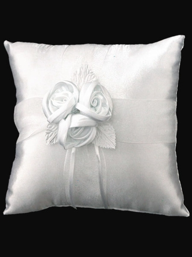 White Ring Bearer Pillow w/3 Satin Roses