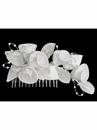 White Rolled Satin Rose Head Comb