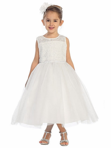 White Rose Lace Bodice w/ Tulle Skirt