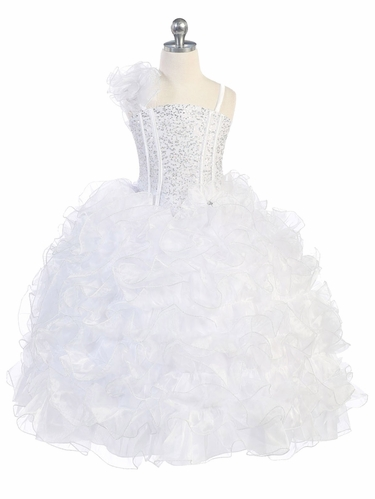 White Ruffle Dress w/ Sparkle Bodice