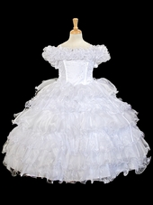 White Ruffle Layered Embroidered Organza Dress