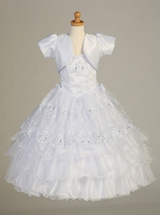 White Ruffle Layered Embroidered Organza Halter Dress w/ Sparkle Detail & Bolero