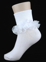 White Ruffled Girl Socks