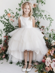 White Ruffled Tulle High Low Dress