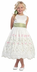 White/Sage Flower & Stem Embroidered Taffeta Dress