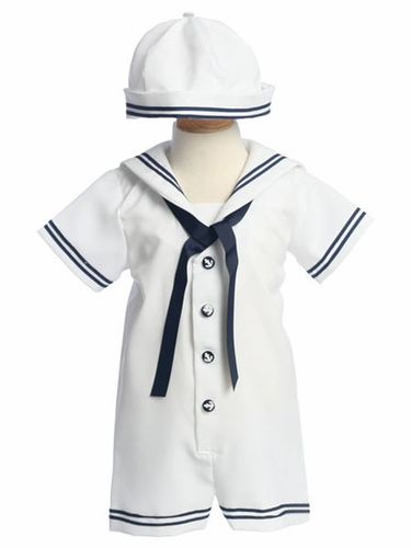 White Sailor Romper w/ Hat