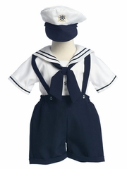 White Sailor Suspender Shorts Set