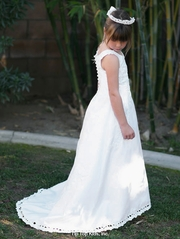 White Satin A-line Court Train Bridal Dress