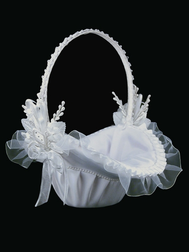 White Satin Basket with Trimming