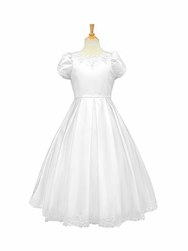White Satin Beaded Communion Dress w/ Short Sleeves & Pleated Skirt