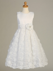 White Satin Bodice Communion Dress w/ Chiffon Embroidered Mesh