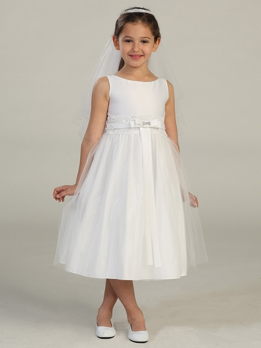 White Satin Bodice Communion Dress w/ Lace Waist & Tulle Skirt