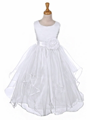 White Satin Bodice Organza Layered Dress w/ Removable Sash & Flower