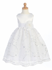 White Satin Bodice w/Embroidered Tulle Skirt
