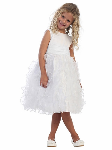White Satin Bodice w/ Feather-Like Organza Frills on Skirt