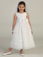 White Satin Bodice w/ Tiered Organza Skirt Dress