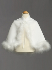 White Satin Cape w/ Marabou