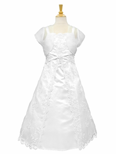 White Satin Communion Dress w/ Embroidered Organza Overlay & Matching Bolero