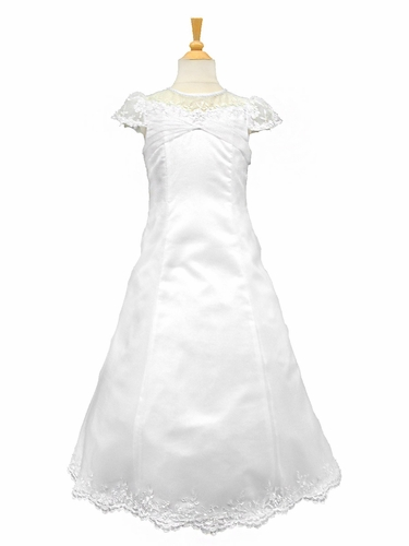 White Satin Communion Dress w/ Illusion Neckline & Embellished Organza Overlay