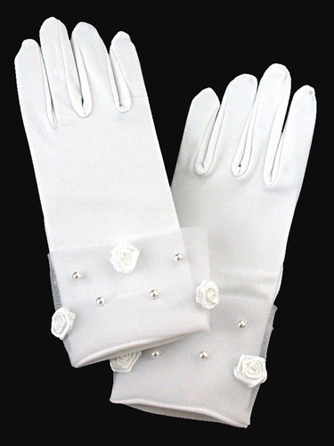 White Satin Gloves w/ Rose & Pearl Accent