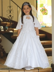 White Satin & Organza Embroidered Virgin Mary Communion Dress w/ Cape