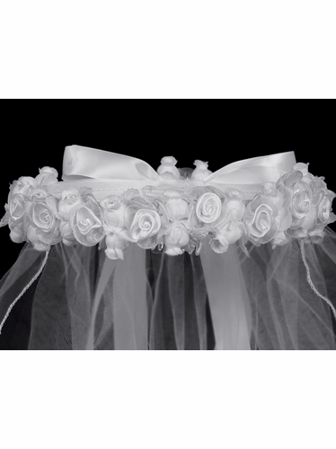 "White Satin & Organza Flowers w/ Rosebuds 30"" Communion Veil"
