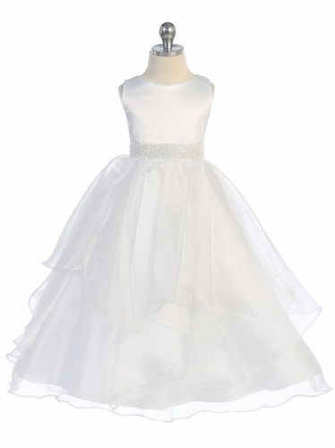 White Satin & Organza Layered Dress