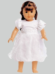 "White Satin & Ruffled Organza Communion 18"" Doll Dress"