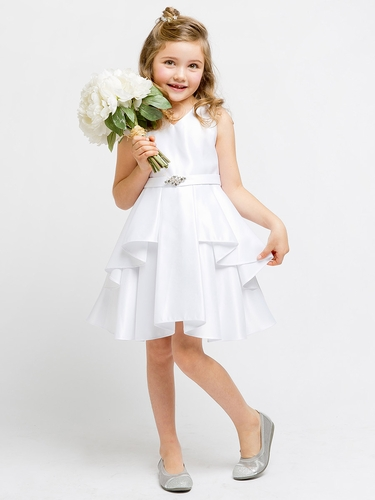 White Satin Sleeveless V-Neck Dress w/ Ruffles
