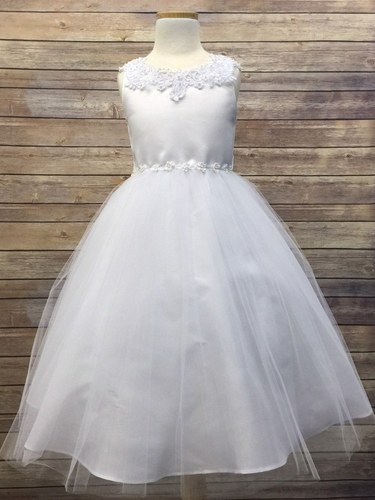 White Satin & Tulle Dress w/ Daisy Trim
